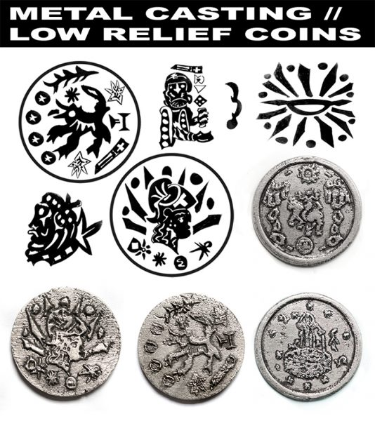 metal coin graphic symbol icon colour painting exhibition